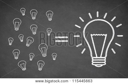 many small light bulbs equal big lightbulb
