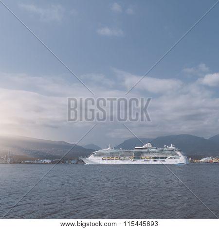 cruise ship in seattles puget sound, wa, usa.