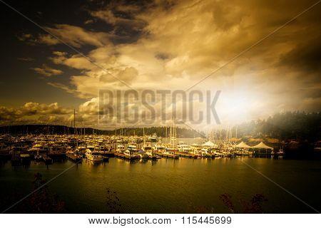 harbor in the sunset, wa, usa.