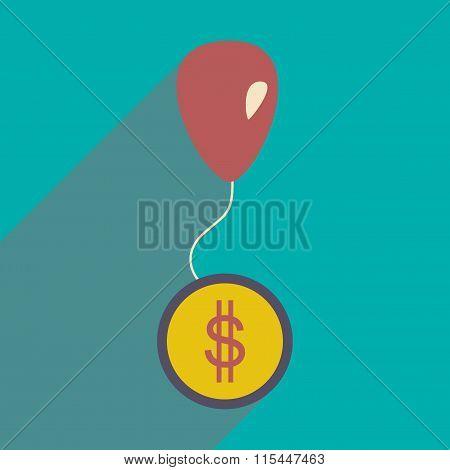 Flat design modern vector illustration icon coin on balloon