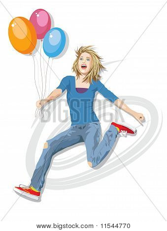Jumping For Joy With Balloons