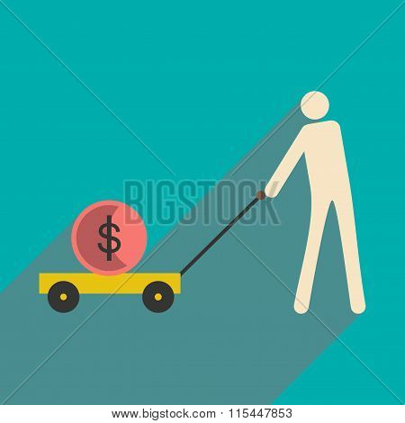 Flat design modern vector illustration icon Stick Figure economy