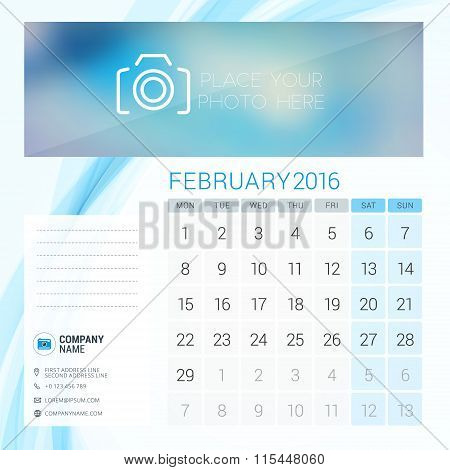 Desk Calendar For 2016 Year. February. Vector Stationery Design Template With Place For Photo, Compa
