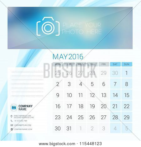 Desk Calendar For 2016 Year. May. Vector Stationery Design Template With Place For Photo, Company Lo