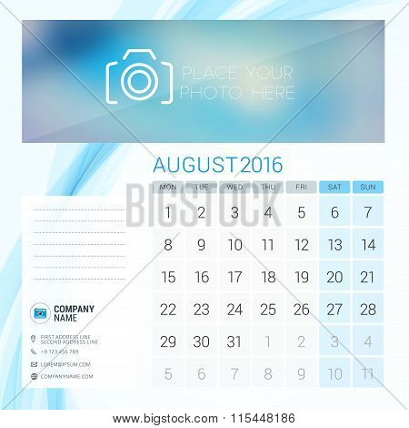 Desk Calendar For 2016 Year. August. Vector Stationery Design Template With Place For Photo, Company