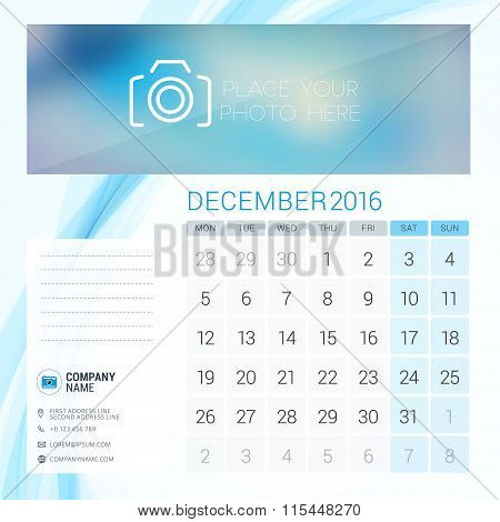 Desk Calendar For 2016 Year. December. Vector Stationery Design Template With Place For Photo, Compa