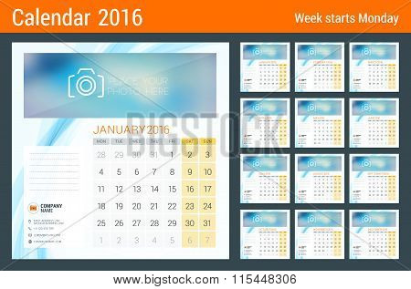Desk Calendar For 2016 Year. Vector Stationery Design Template With Place For Photo, Company Logo An