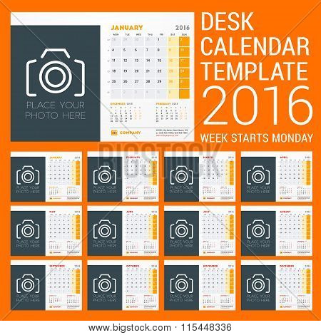Desk Calendar For 2016 Year. Vector Stationery Design Template. Week Starts Sunday. 3 Months On Page
