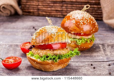 Two chicken burgers