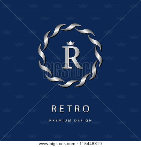 Monogram Design Elements, Graceful Template. Elegant Line Art Logo Design. Letter Emblem R. Retro Vi