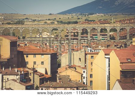 Roman Aqueduct Bridge Of Segovia, Castilla Leon, Spain