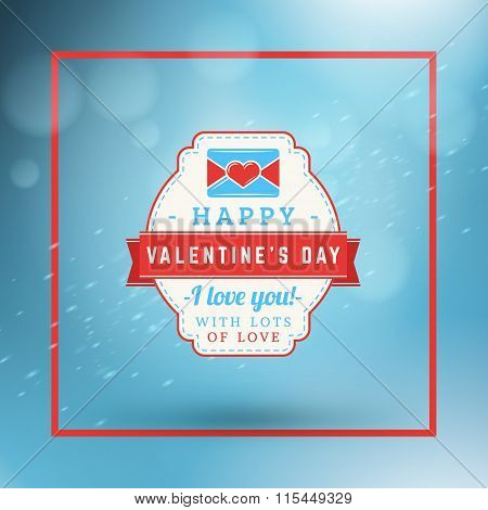 Happy Valentines Day Retro Label. Valentines Day Greeting Card Or Poster. Vector Design Template Wit