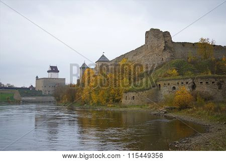Cloudy day in october at the Narva river. Ivangorod