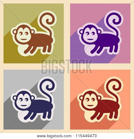 Set flat icons with long shadow monkey with bananas