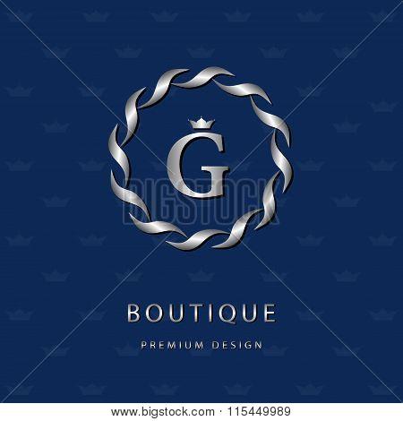 Monogram Design Elements, Graceful Template. Elegant Line Art Logo Design. Letter Emblem G. Retro Vi