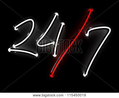 Render 24/7 neon sign isolated on black background