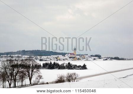Winter View Of Ohmenheim (Neresheim), Baden-wurttemberg, Germany.
