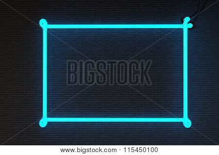 Frame isolated on black brick wall background