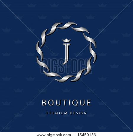 Monogram Design Elements, Graceful Template. Elegant Line Art Logo Design. Letter Emblem J. Retro Vi