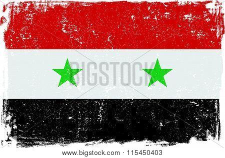 Syria vector grunge flag isolated on white background.