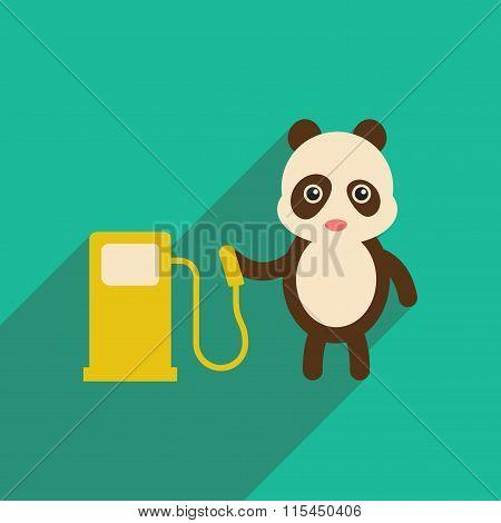 flat icon with long shadow panda cartoon