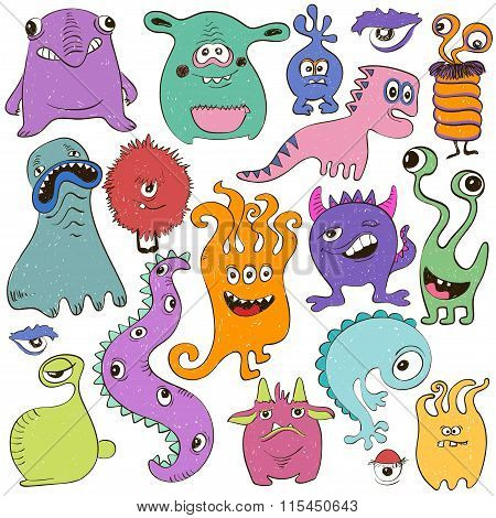Set Of Isolated Cartoon Monsters.