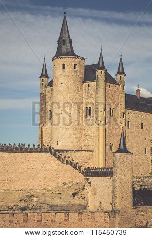 Segovia, Spain. The Famous Alcazar Of Segovia, Rising Out On A Rocky Crag, Built In 1120. Castilla Y