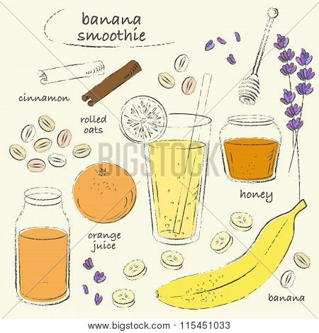 Banana Smoothie Glass And Ingredients Recipe Line Art Sketch