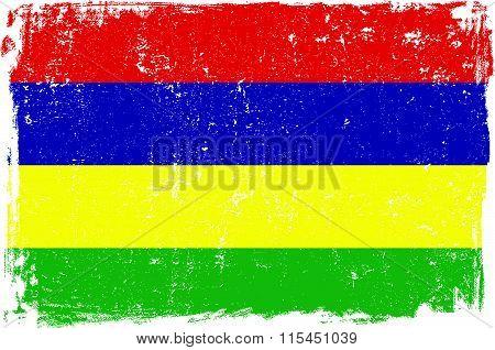 Mauritius vector grunge flag isolated on white background.