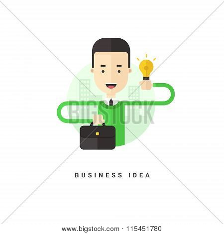 Flat Style Vector Conceptual Illustration. Cartoon Character Businessman Holding Suitcase And Lamp.