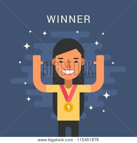Sport Concept Illustration. Female Cartoon Character. Sportsman Standing With Golden Medal. Flat Sty