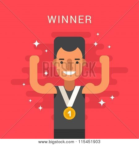 Sport Concept Illustration. Male Cartoon Character. Sportsman Standing With Golden Medal. Flat Style