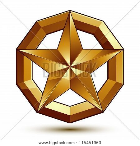 Geometric Vector Classic Golden Element Isolated On White Backdrop, Dimensional Decorative Star Shap