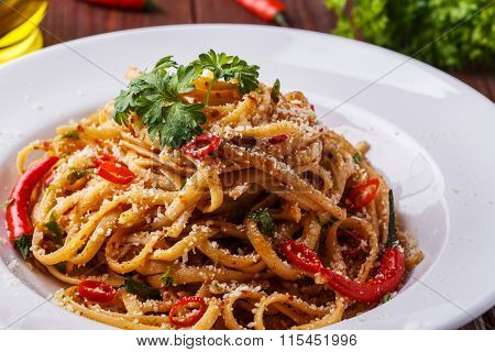 Homemade Linguine Pasta In Arrabbiata Sauce.