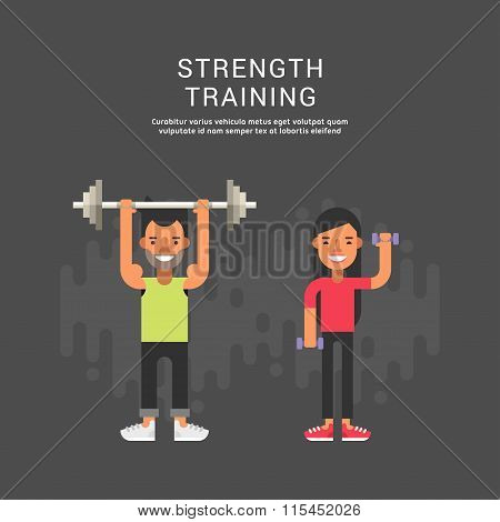 Sport Concept Illustration. Male And Female Cartoon Characters. Strenght Training. Flat Style Vector