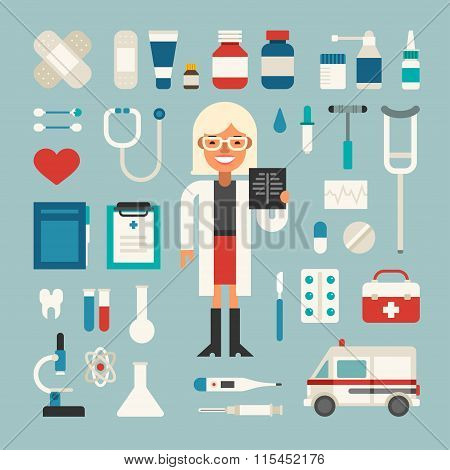 Set Of Vector Icons And Illustrations In Flat Design Style. Profession Medicine Doctor. Female Carto