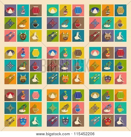 Modern flat icons collection with long shadow Indian icons