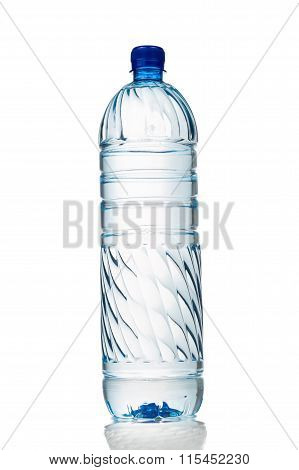 Single Refreshing Mineral Water In Plastic Bottle In Vertical Orientation
