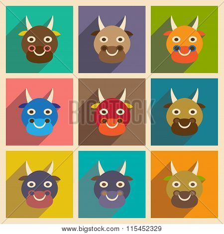 Modern flat icons collection with long shadow Indian cow