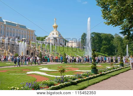Peterhof. Russia. People in The Lower Park