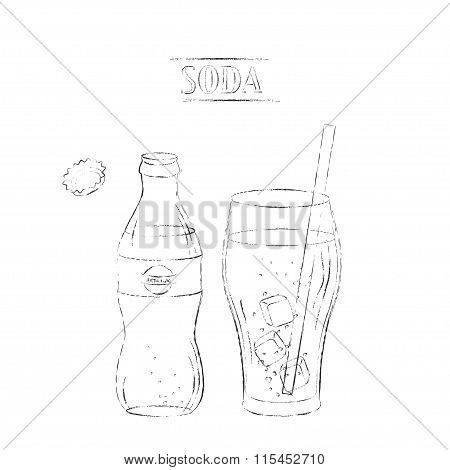 Light Sketch Drawing Of Open Soda Bottle And Glass With Straw