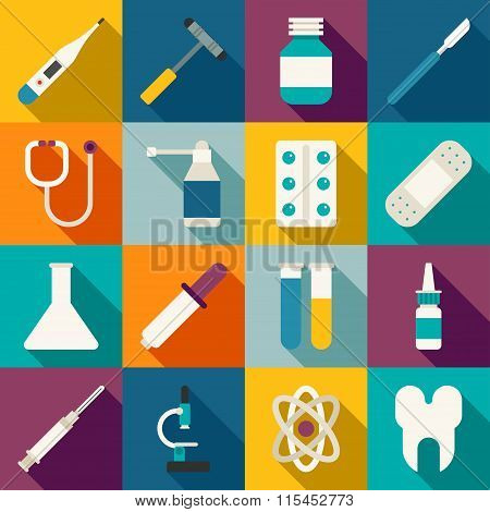 Set Of Vector Flat Style Medical Icons With Long Shadow