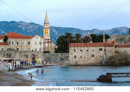 Evening View Of Beach At Old Town Of Budva, Montenegro