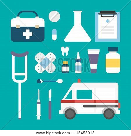 Set Of Vector Flat Style Medical Icons And Objects. Ambulance, Suitcase, Patch, Scalpel, Spray, Toot