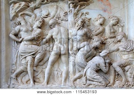 Antique Roman Relief ,florence, Italy