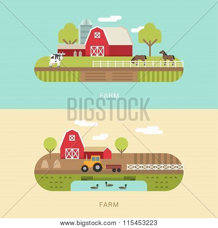 Vector Flat Style Illustration Of Farm Landscape With Farmhouses, Pond And Fields