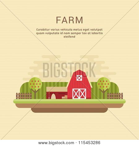 Vector Flat Style Illustration Of Farm Landscape With Farmhouses And Fields