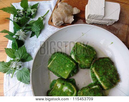 Cheese tofu in tempura, cooking