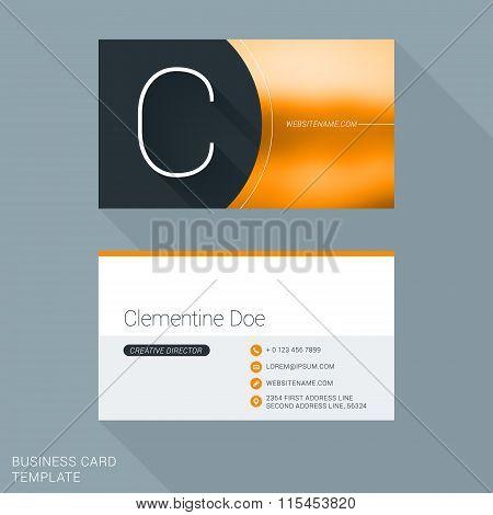 Creative Business Card Template. Letter C. Flat Design Vector Illustration. Stationery Design