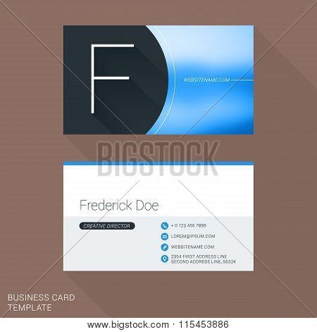 Creative Business Card Template. Letter F. Flat Design Vector Illustration. Stationery Design